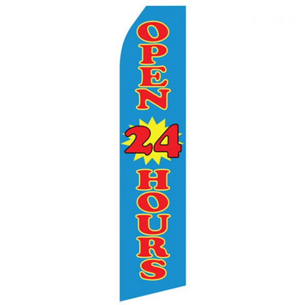 Blue Open 24 Hours Econo Stock Flag