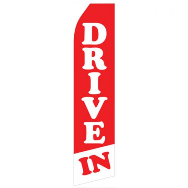 Red and White Drive In Feather Flag