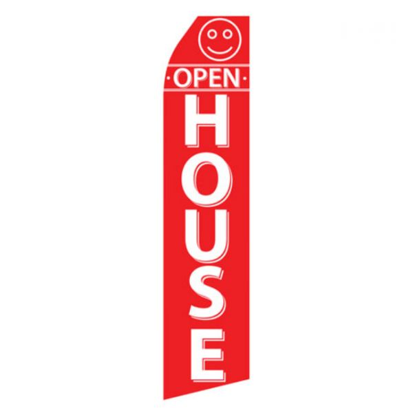 Red Open House Econo Stock Flag