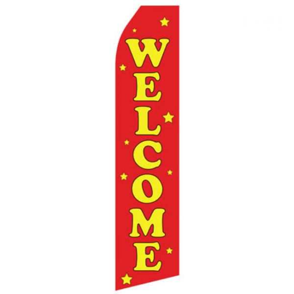 Red Welcome Econo Stock Flag