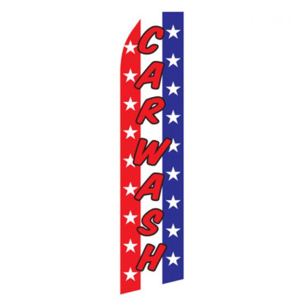 Red White and Blue Car Wash Econo Stock Flag
